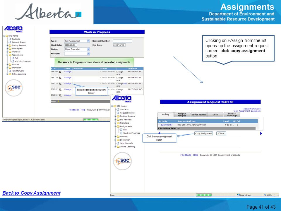 Page 41 of 43 WIP Copy A2 Clicking on FAssign from the list opens up the assignment request screen, click copy assignment button Back to Copy Assignme