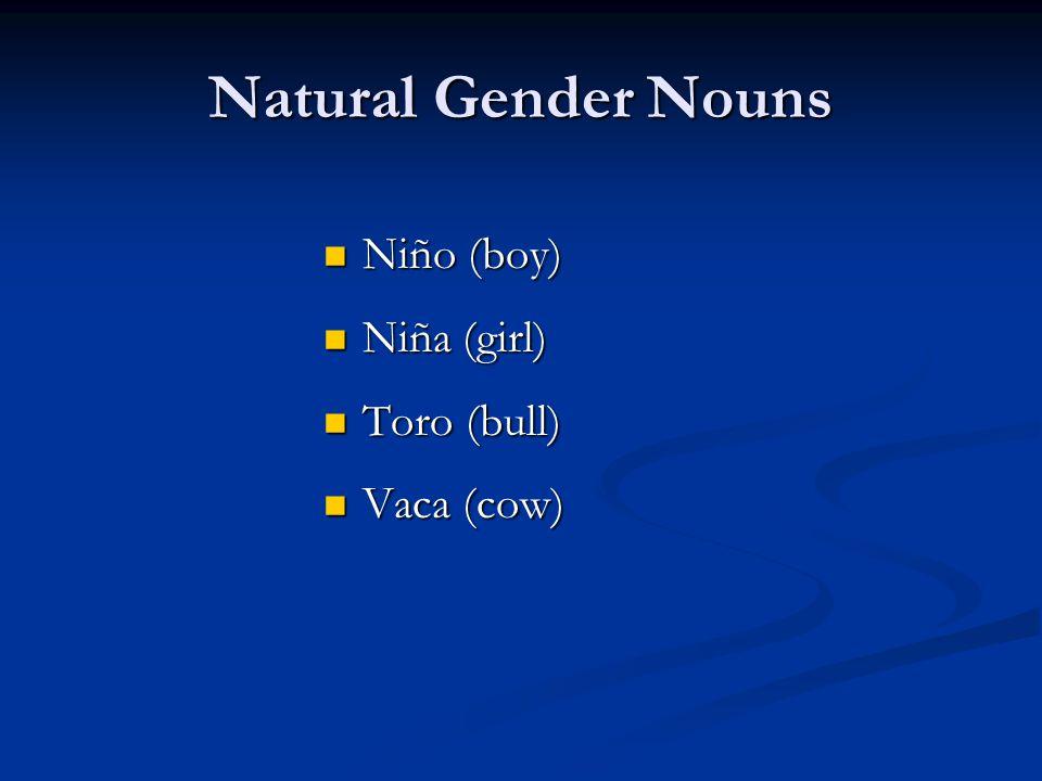 Natural Gender Nouns Niño (boy) Niño (boy) Niña (girl) Niña (girl) Toro (bull) Toro (bull) Vaca (cow) Vaca (cow)