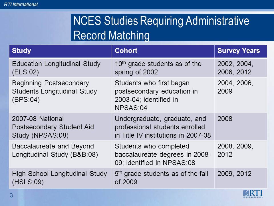 RTI International 3 NCES Studies Requiring Administrative Record Matching StudyCohortSurvey Years Education Longitudinal Study (ELS:02) 10 th grade st