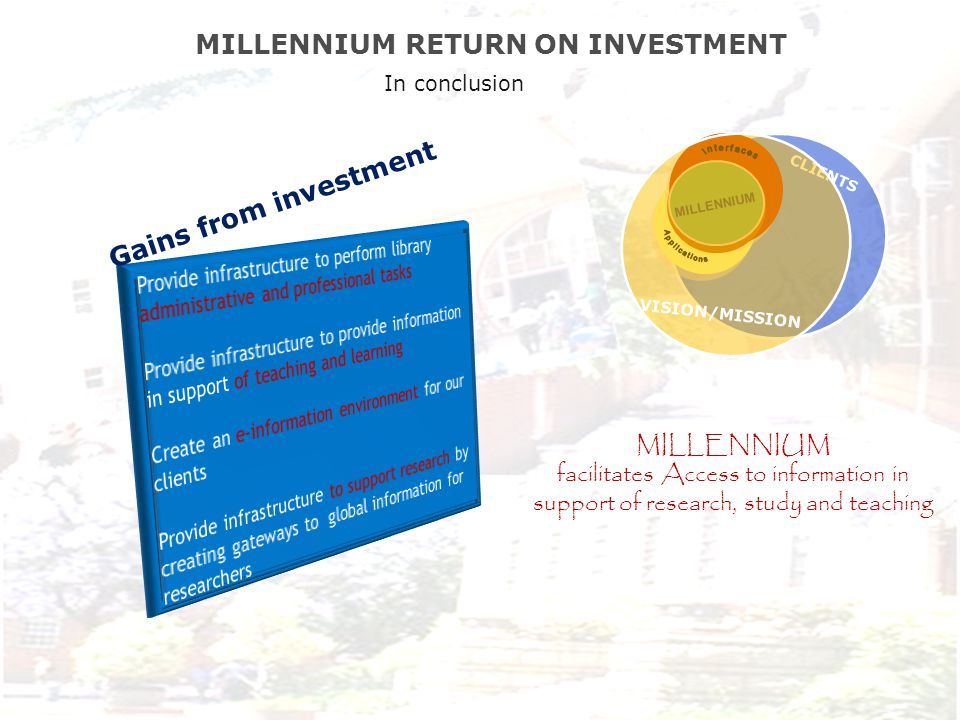 XXXXXXXXXXXXXXXXXXXXXXXXXXXXXXXXXXX CLIENTS MILLENNIUM VISION/MISSION MILLENNIUM RETURN ON INVESTMENT MILLENNIUM facilitates Access to information in support of research, study and teaching Gains from investment In conclusion
