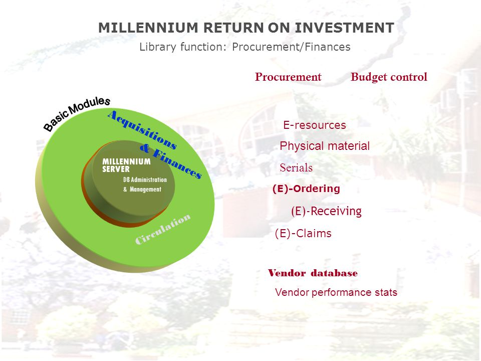 MILLENNIUM SERVER DB Administration & Management Acquisitions & Finances Circulation MILLENNIUM RETURN ON INVESTMENT Library function: Procurement/Finances (E)-Ordering Vendor database Vendor performance stats Procurement Budget control E-resources Physical material Serials (E)-Receiving (E)-Claims