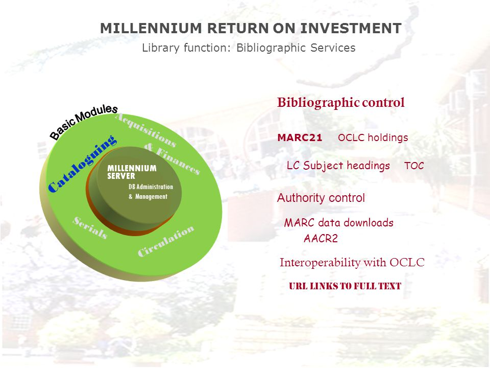 MILLENNIUM SERVER DB Administration & Management Bibliographic control MARC21 OCLC holdings LC Subject headings TOC Authority control MARC data downloads AACR2 Interoperability with OCLC URL LINKS to full text Acquisitions & Finances Circulation Serials Cataloguing MILLENNIUM RETURN ON INVESTMENT Library function: Bibliographic Services