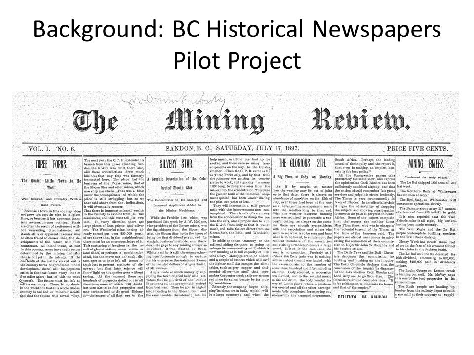 Background: BC Historical Newspapers Pilot Project