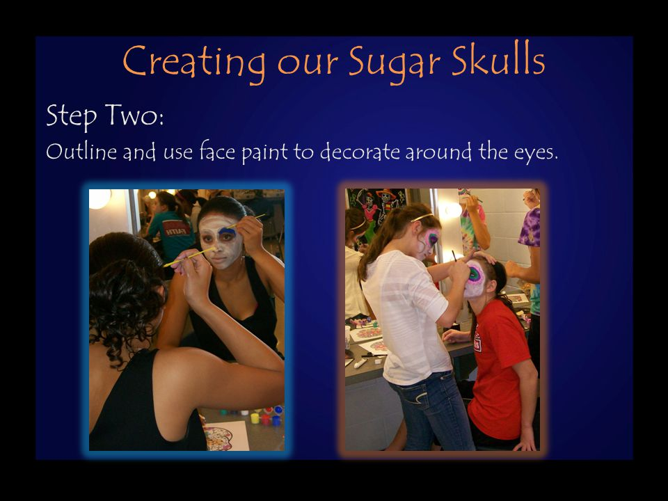 Creating Our Sugar Skulls Step One: Use white make-up to completely cover the face.