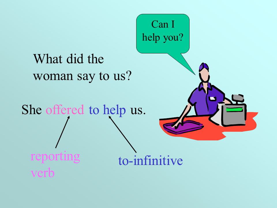 Reported requests, offers…. When we report offers, promises, threats etc, we can use the structure: Reporting verb + to-infinitive