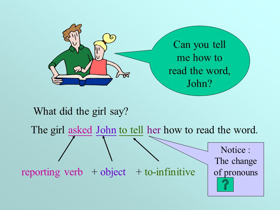 Can you tell me how to read the word, John.The girl asked John to tell her how to read the word.