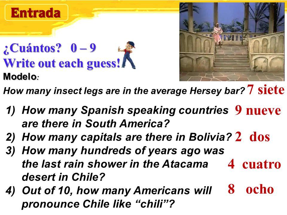¿Cuántos.0 – 9 Write out each guess. Modelo : ¿Cuántos.