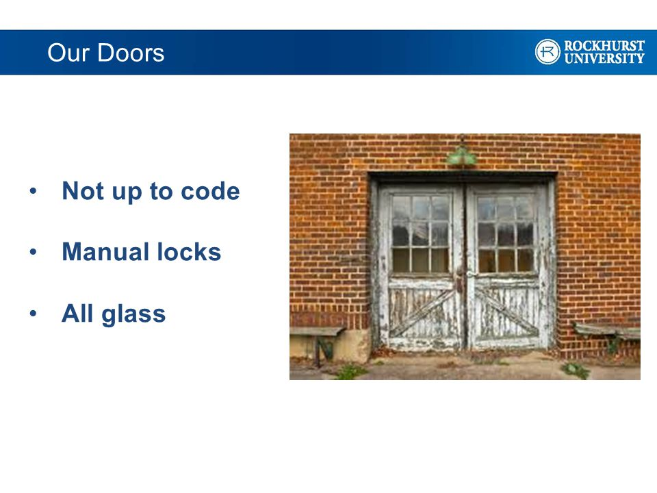 Our Doors Not up to code Manual locks All glass