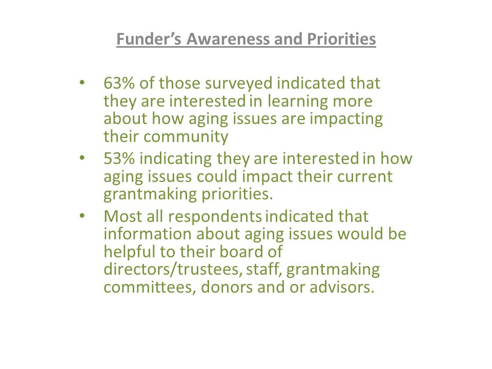 Funder's Awareness and Priorities 63% of those surveyed indicated that they are interested in learning more about how aging issues are impacting their community 53% indicating they are interested in how aging issues could impact their current grantmaking priorities.