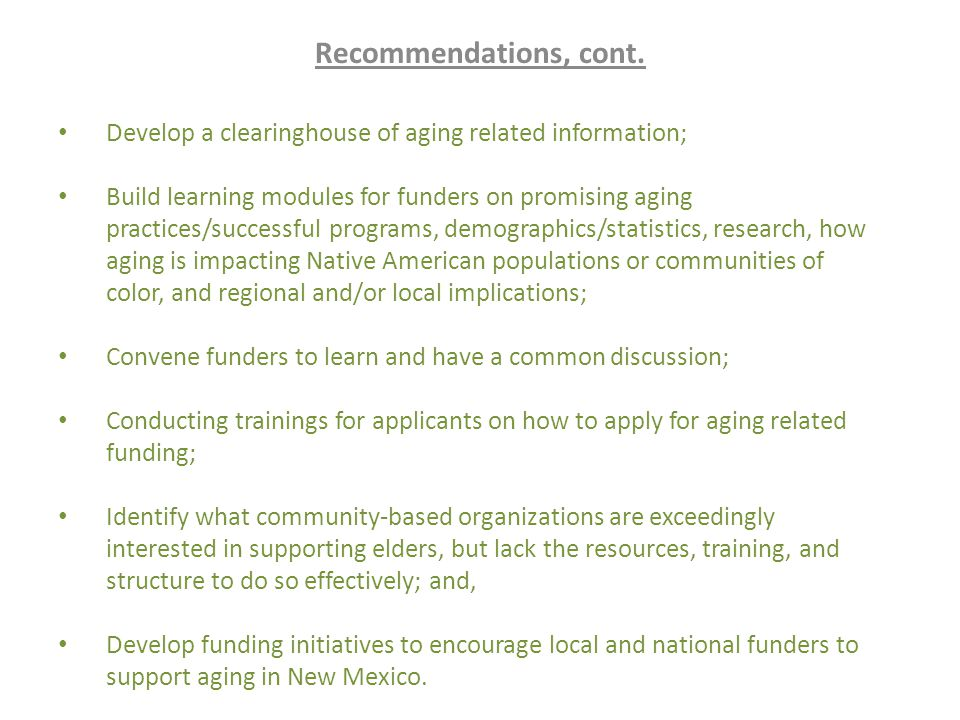 Recommendations, cont.