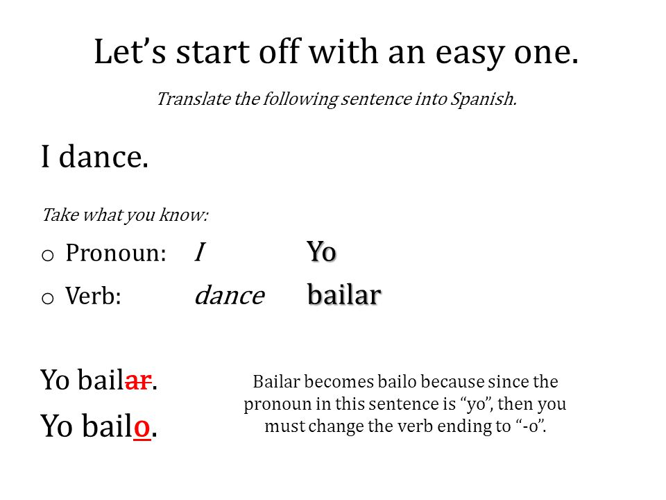 Bailar becomes bailo because since the pronoun in this sentence is yo , then you must change the verb ending to -o .