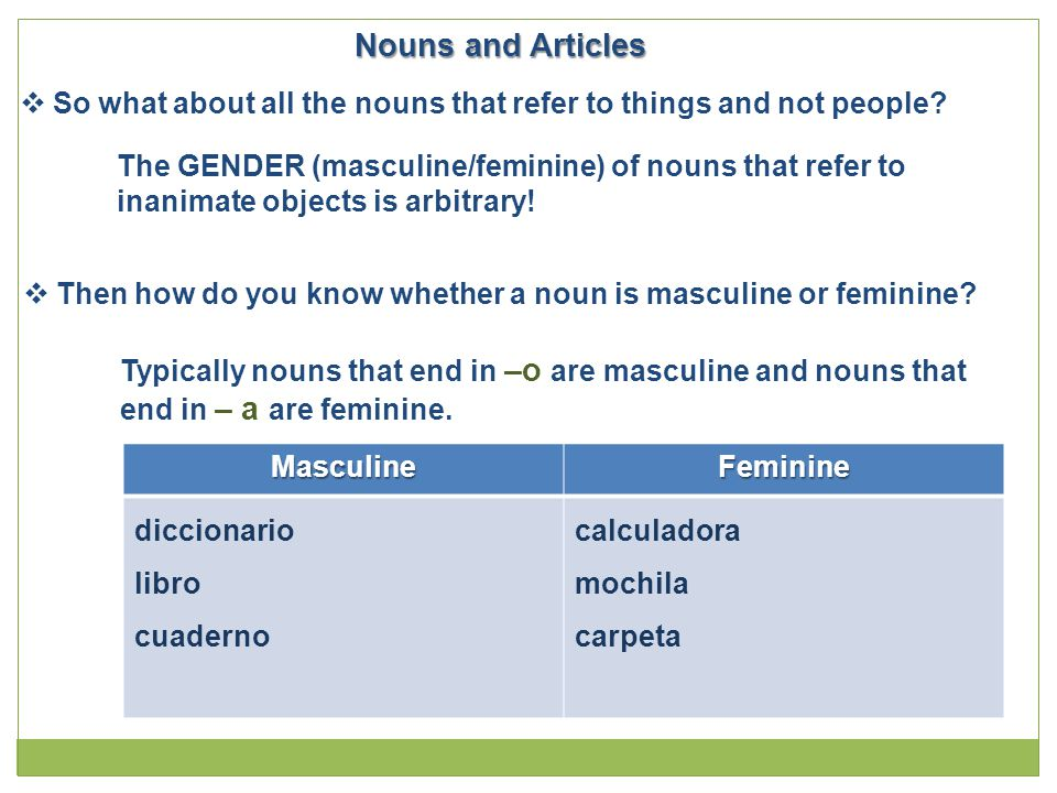 Nouns and Articles  So what about all the nouns that refer to things and not people? The GENDER (masculine/feminine) of nouns that refer to inanimate