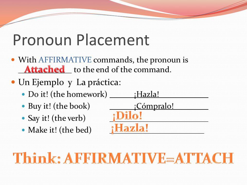 Pronoun Placement With AFFIRMATIVE commands, the pronoun is _____________ to the end of the command. Un Ejemplo y La práctica: Do it! (the homework)¡H