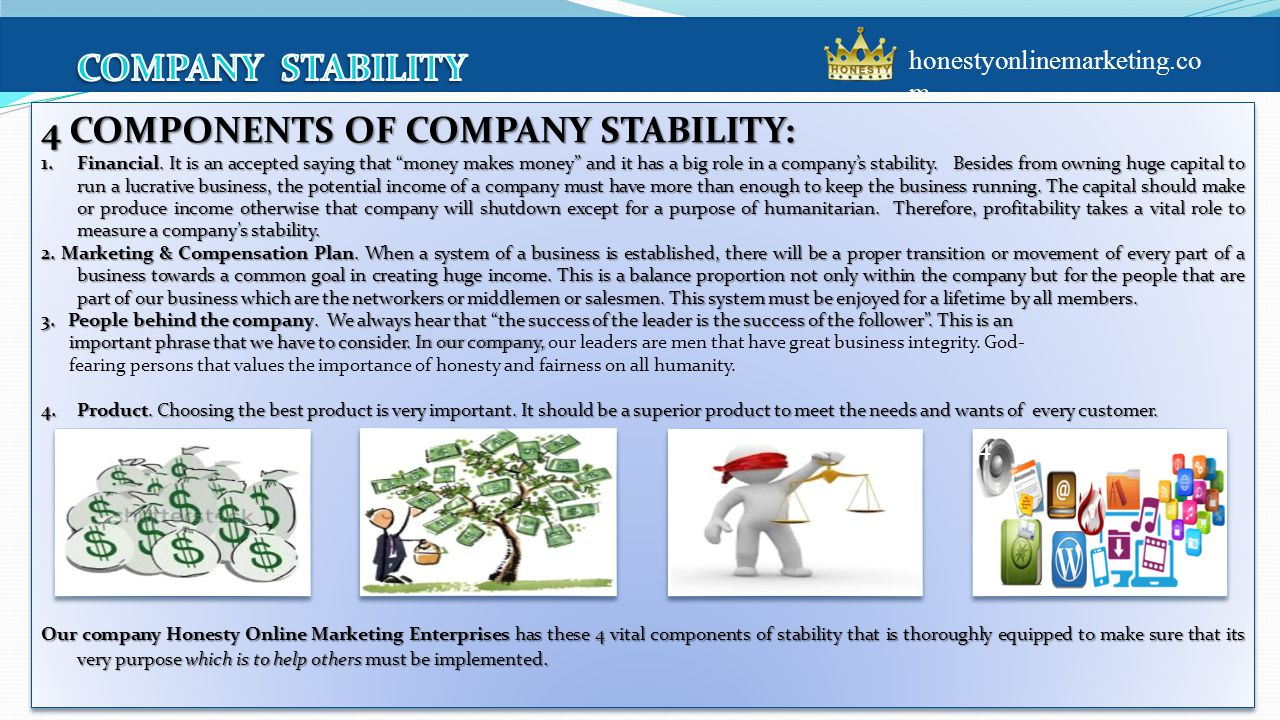 4 COMPONENTS OF COMPANY STABILITY: 1.Financial.