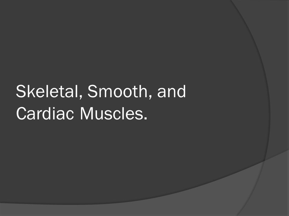 Skeletal, Smooth, and Cardiac Muscles.