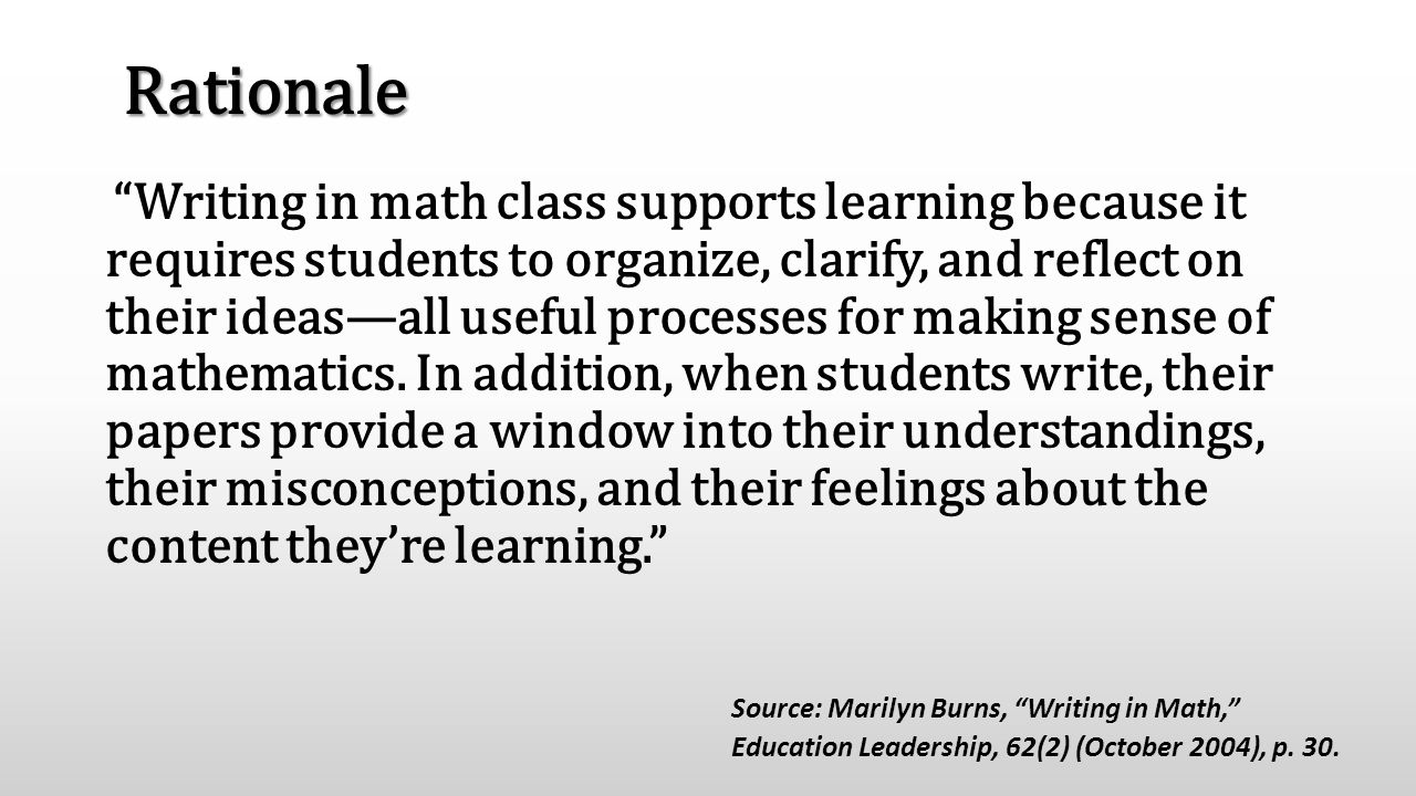 "Rationale ""Writing in math class supports learning because it requires students to organize, clarify, and reflect on their ideas—all useful processes"