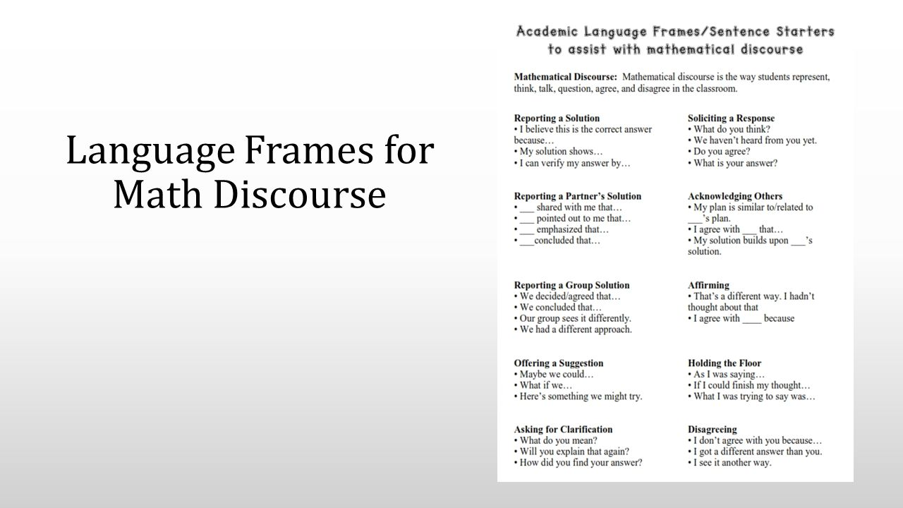 Language Frames for Math Discourse