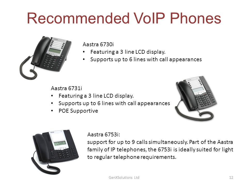 GenXSolutions Ltd12 Recommended VoIP Phones Aastra 6730i Featuring a 3 line LCD display.