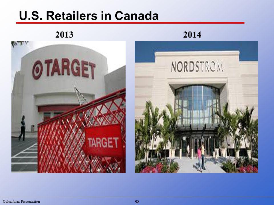 Colombian Presentation U.S. Retailers in Canada 52 20132014