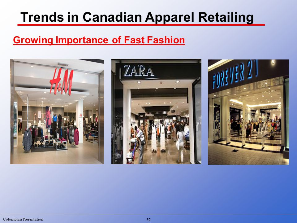 Colombian Presentation 59 Trends in Canadian Apparel Retailing Growing Importance of Fast Fashion
