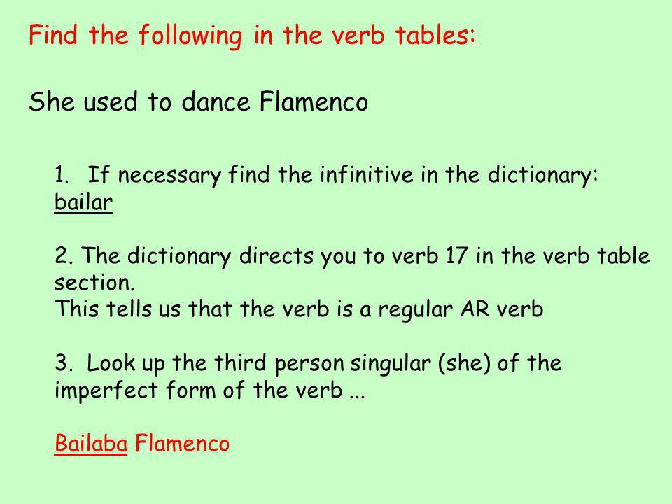 Find the following in the verb tables: We didn't know what to do 1.If necessary find the infinitive in the dictionary: saber 2.
