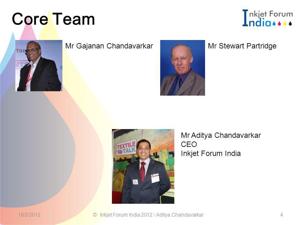 Core Team 418/2/2012© Inkjet Forum India 2012 / Aditya Chandavarkar Mr Gajanan Chandavarkar Mr Aditya Chandavarkar CEO Inkjet Forum India Mr Stewart Partridge