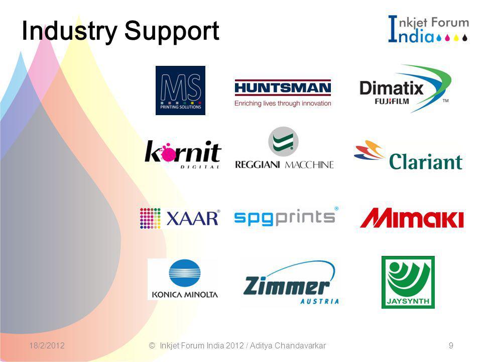 9 Industry Support 18/2/2012© Inkjet Forum India 2012 / Aditya Chandavarkar