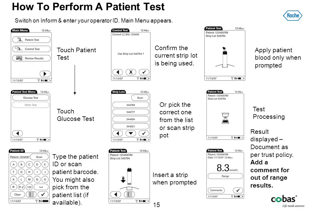 15 How To Perform A Patient Test Switch on Inform & enter your operator ID. Main Menu appears. Touch Patient Test Insert a strip when prompted Apply p