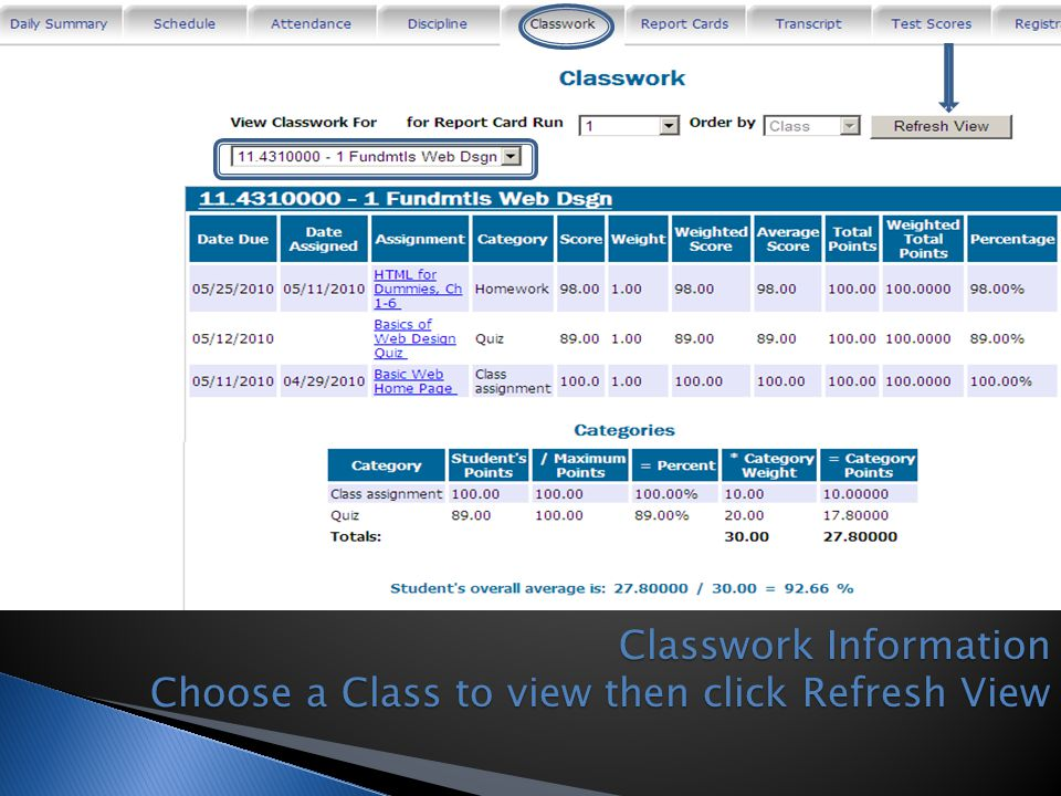 Classwork Information Choose a Class to view then click Refresh View