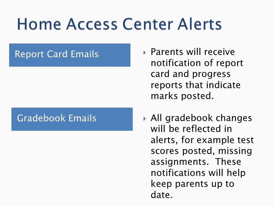 Report Card Emails Gradebook Emails  Parents will receive notification of report card and progress reports that indicate marks posted.  All gradeboo
