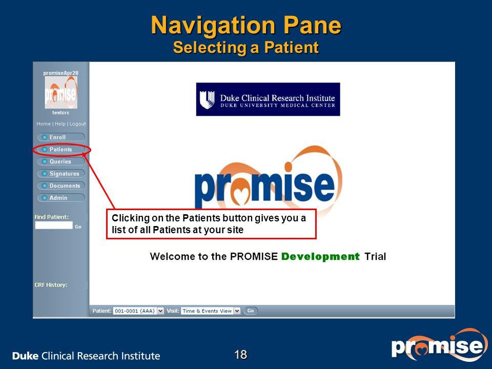 Navigation Pane Selecting a Patient Clicking on the Patients button gives you a list of all Patients at your site 18