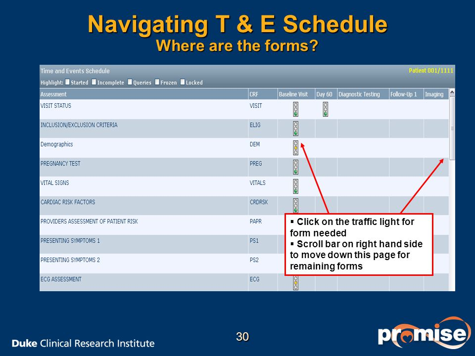 Navigating T & E Schedule Where are the forms?   Click on the traffic light for form needed   Scroll bar on right hand side to move down this page