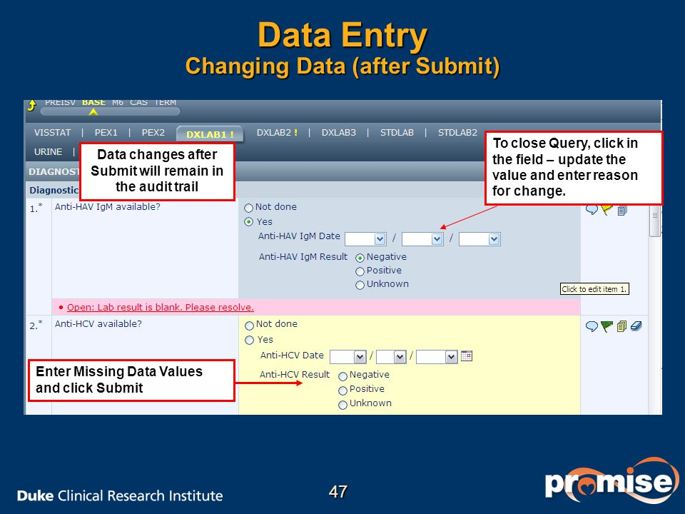 Data Entry Changing Data (after Submit) Enter Missing Data Values and click Submit To close Query, click in the field – update the value and enter reason for change.
