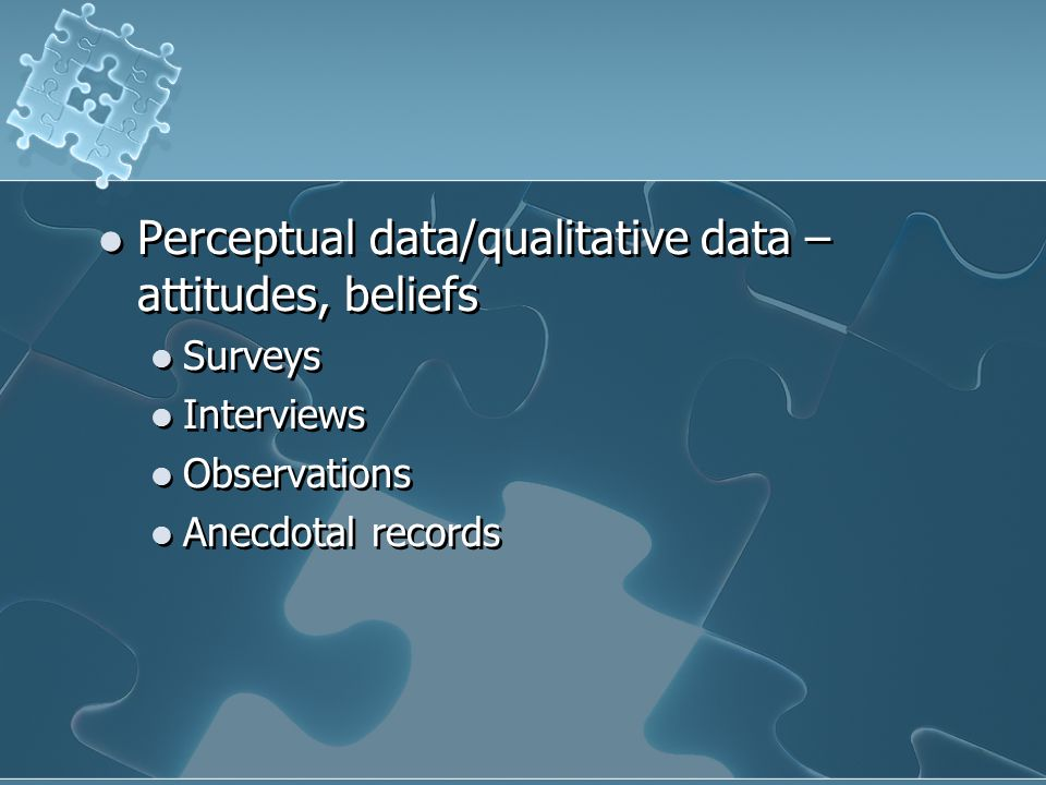 Perceptual data/qualitative data – attitudes, beliefs Surveys Interviews Observations Anecdotal records Perceptual data/qualitative data – attitudes, beliefs Surveys Interviews Observations Anecdotal records