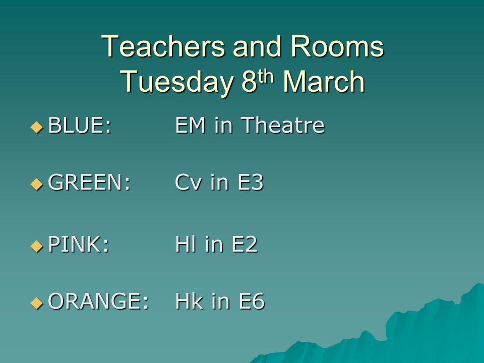Teachers and Rooms Tuesday 8 th March  BLUE: EM in Theatre  GREEN: Cv in E3  PINK:Hl in E2  ORANGE:Hk in E6
