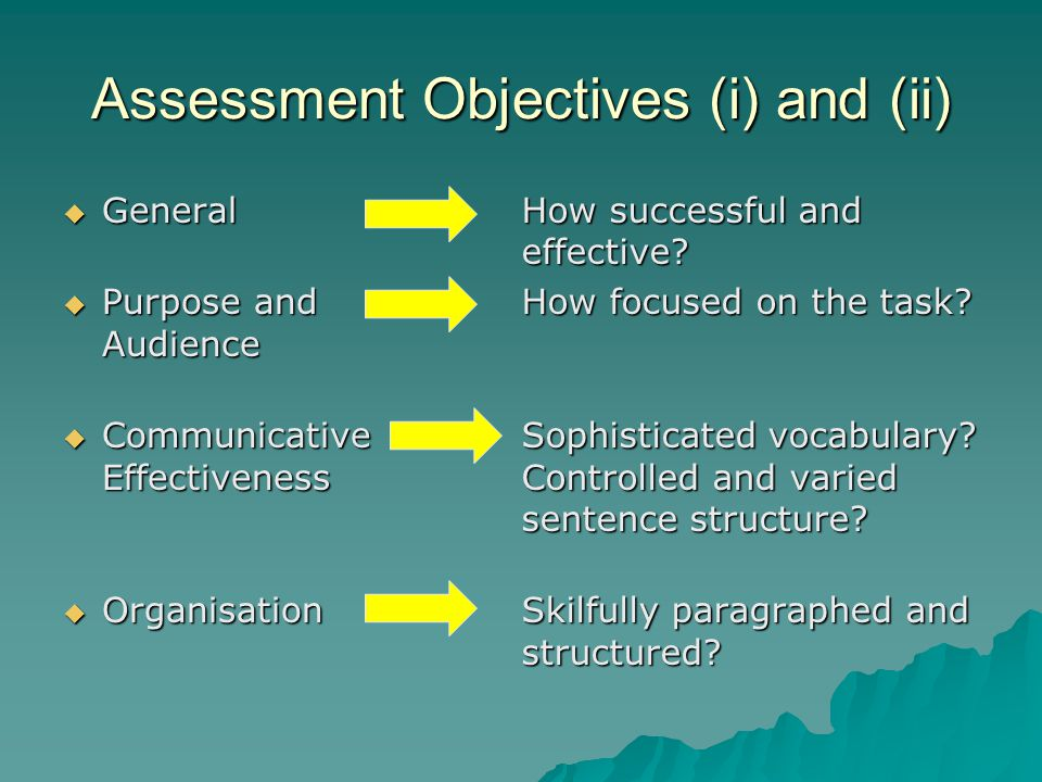 Assessment Objective (iii)  Punctuation  Grammar  Spelling Accurate and varied marks used for effect.