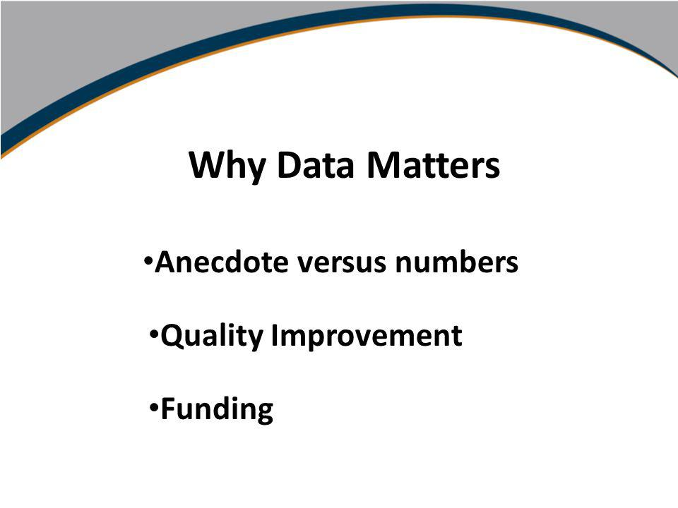 Using Data to Inform Practice Carol Schubert Marcel Schipper PA Community Providers Association Conference October, 2010 Why Data Matters Anecdote versus numbers Quality Improvement Funding