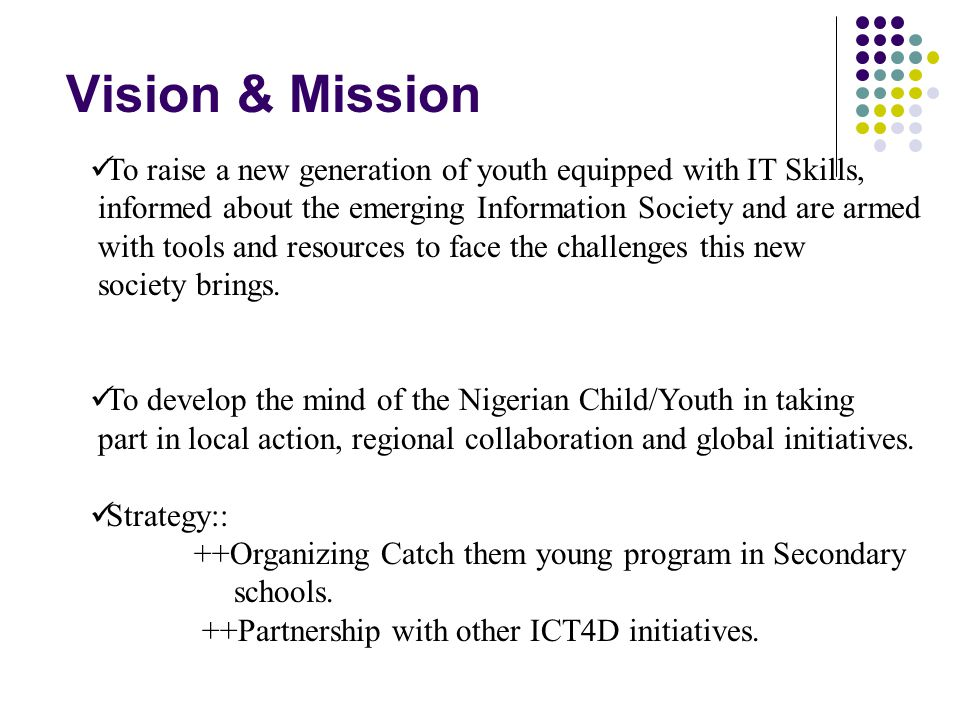 What we do We Inform young people about the Information Society, the emerging trends and challenges, which include ongoing efforts to bring about an equitable Information Society and the need to be involved in this new dynamic.