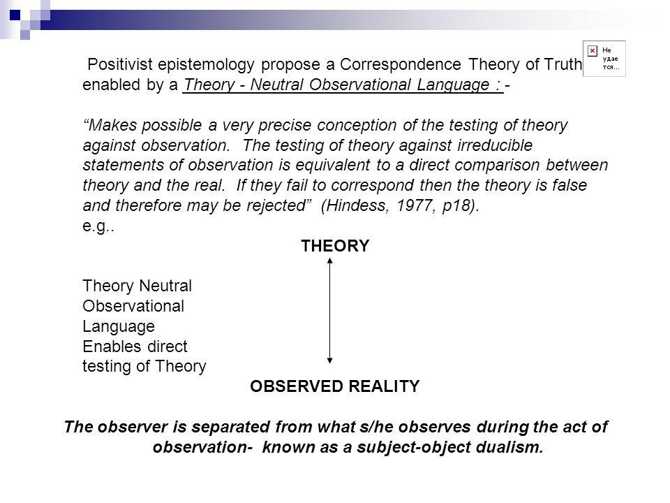 Positivist epistemology propose a Correspondence Theory of Truth enabled by a Theory - Neutral Observational Language : - Makes possible a very precise conception of the testing of theory against observation.