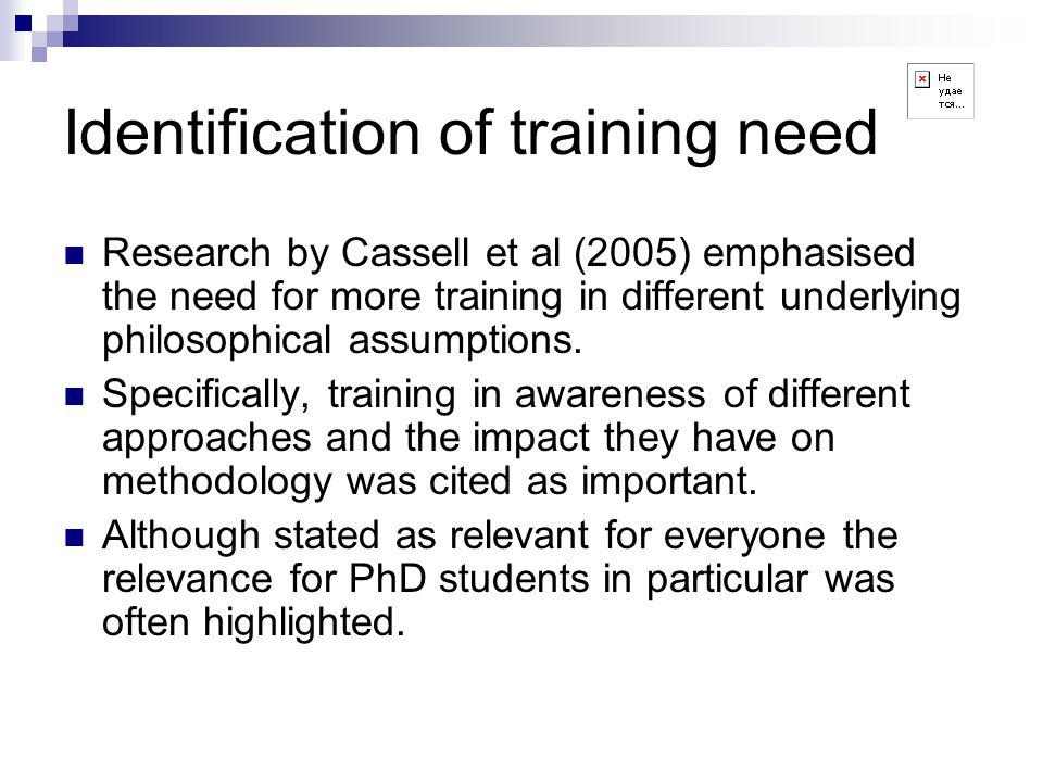 Identification of training need Research by Cassell et al (2005) emphasised the need for more training in different underlying philosophical assumptions.