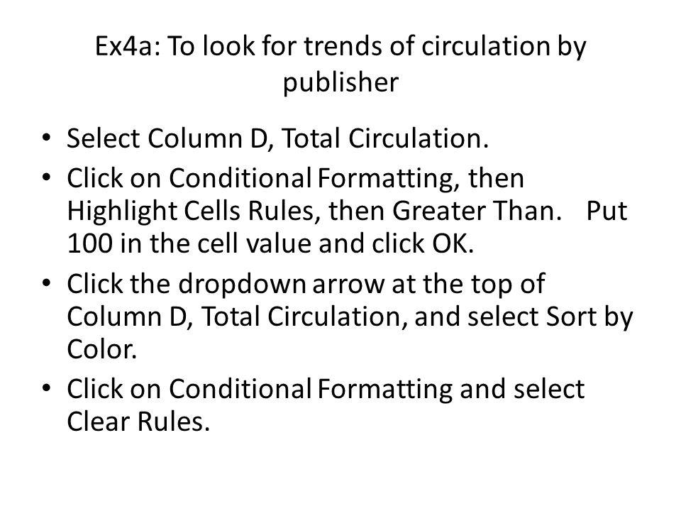 Ex4a: To look for trends of circulation by publisher Select Column D, Total Circulation.