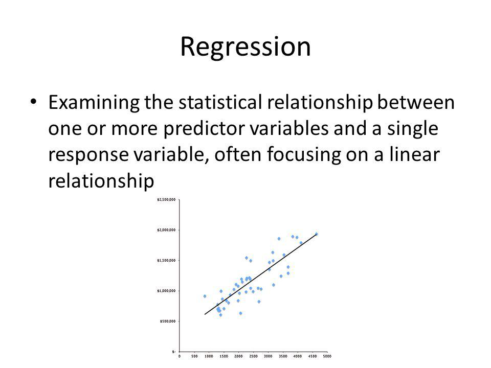 Regression Examining the statistical relationship between one or more predictor variables and a single response variable, often focusing on a linear relationship