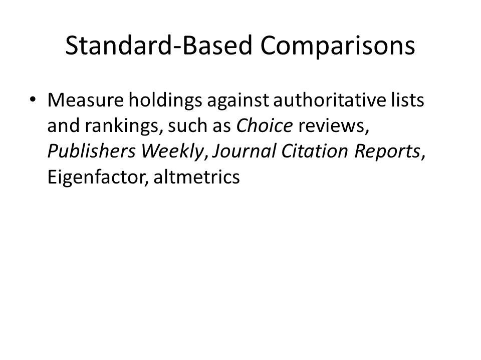 Standard-Based Comparisons Measure holdings against authoritative lists and rankings, such as Choice reviews, Publishers Weekly, Journal Citation Reports, Eigenfactor, altmetrics
