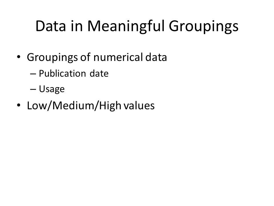 Data in Meaningful Groupings Groupings of numerical data – Publication date – Usage Low/Medium/High values