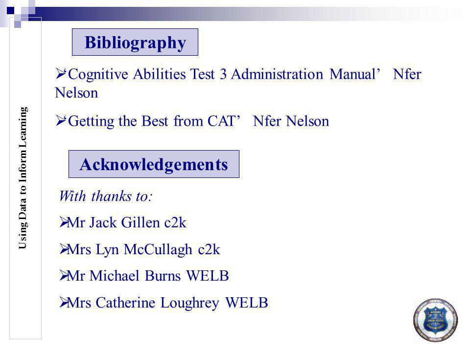Using Data to Inform Learning Bibliography  'Cognitive Abilities Test 3 Administration Manual' Nfer Nelson  'Getting the Best from CAT' Nfer Nelson Acknowledgements With thanks to:  Mr Jack Gillen c2k  Mrs Lyn McCullagh c2k  Mr Michael Burns WELB  Mrs Catherine Loughrey WELB