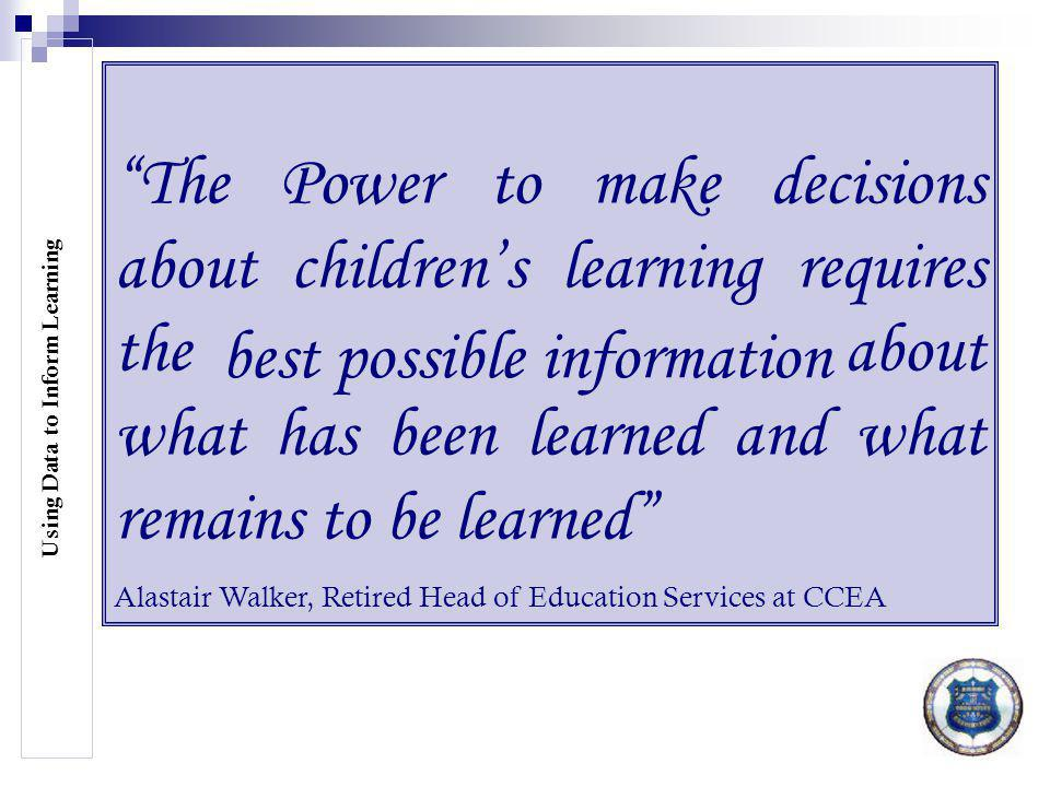 Use of all assessment information and comparative data to inform teaching and learning Assessment Policy Sept.