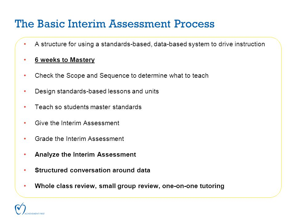 The Basic Interim Assessment Process A structure for using a standards-based, data-based system to drive instruction 6 weeks to Mastery Check the Scop