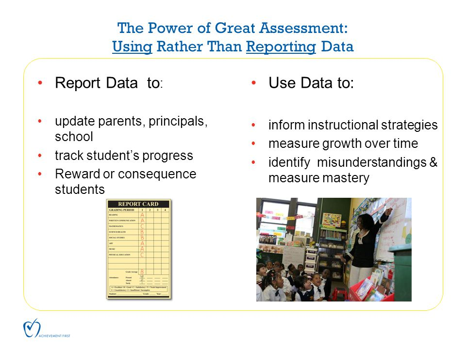 The Power of Great Assessment: Using Rather Than Reporting Data Report Data to : update parents, principals, school track student's progress Reward or