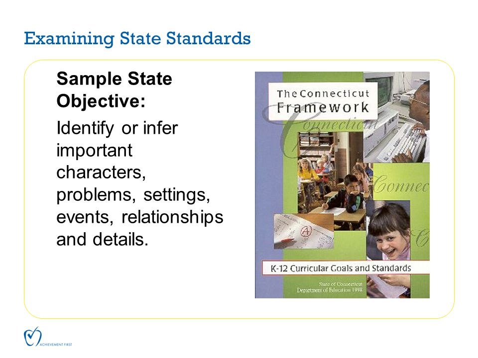 Examining State Standards Sample State Objective: Identify or infer important characters, problems, settings, events, relationships and details.