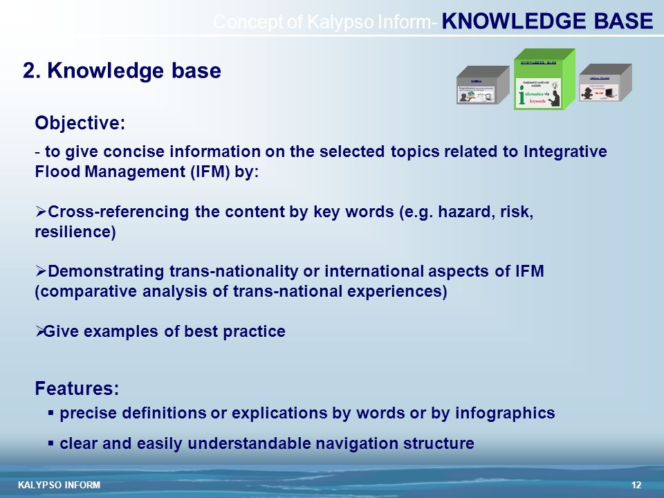 KALYPSO INFORM12 Concept of Kalypso Inform- KNOWLEDGE BASE - to give concise information on the selected topics related to Integrative Flood Management (IFM) by:  Cross-referencing the content by key words (e.g.